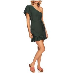 NEW 1. State Green Ruffle One Shoulder Wrap Dress